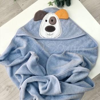 Полотенце-уголок Маленькая Соня Собачка 80*100 см махровое детское голубое арт.9200424