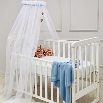 Балдахин Маленькая Соня Happy Baby 4 м белый с голубой лентой детский арт.055007