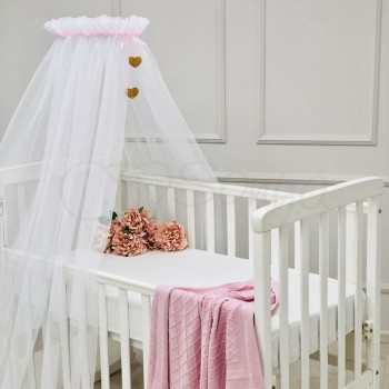 Балдахин Маленькая Соня Happy Baby 4 м белый с розовой лентой детский арт.055009