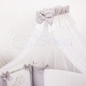 Балдахин Маленькая Соня Smile 4 м белый с серой лентой детский арт.053252