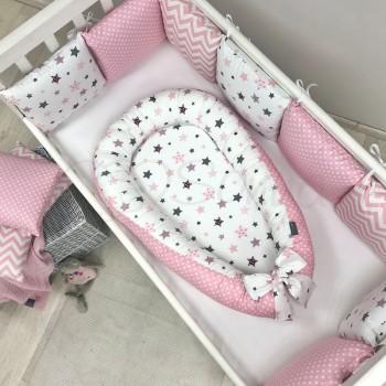 Кокон для новорожденных Маленькая Соня Baby Desing Premium 65*90 см поплин детский серо-розовые звезды арт.5019422