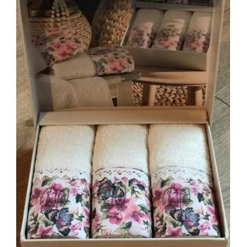 Набор полотенец Do & Co Бабочка 30*50 см махровое банное белое 3 шт арт.ts-01749
