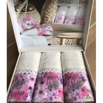 Набор полотенец Do & Co Полевые цветы 30*50 см махровое банное белое 3 шт арт.ts-01752