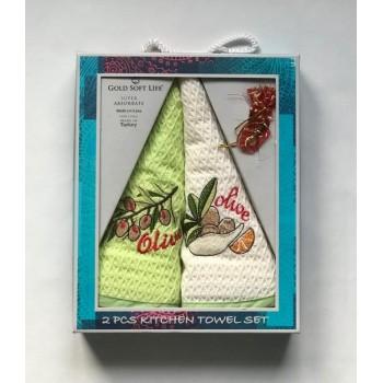 Набор полотенец для кухни Gold Soft Life Олива V04 50*50 см вафельные в коробке 2шт