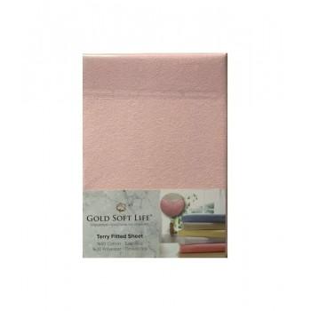 Простынь Gold Soft Life Terry Fitted Sheet 180*200*25см махровая на резинке светло розовая арт.ts-02012