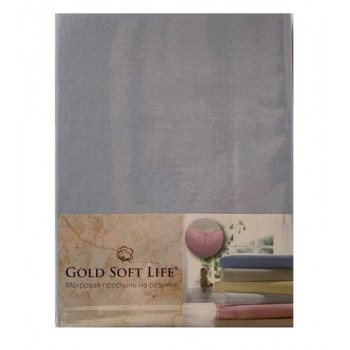 Простынь Gold Soft Life Terry Fitted Sheet 180*200*20см трикотажная на резинке голубая арт.ts-02028
