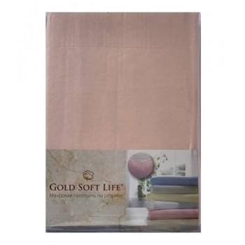 Простынь Gold Soft Life Terry Fitted Sheet 180*200*20см трикотажная на резинке персиковая арт.ts-02029