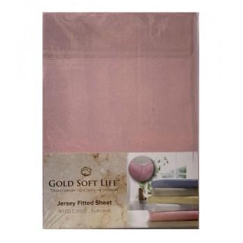 Простынь Gold Soft Life Terry Fitted Sheet 180*200*20см трикотажная на резинке розовая арт.ts-02031