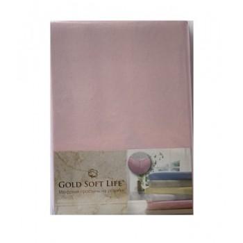 Простынь Gold Soft Life Terry Fitted Sheet 180*200*20см трикотажная на резинке светло розовая арт.ts-02032