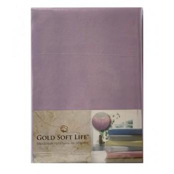 Простынь Gold Soft Life Terry Fitted Sheet 180*200*20см трикотажная на резинке сиреневая арт.ts-02026