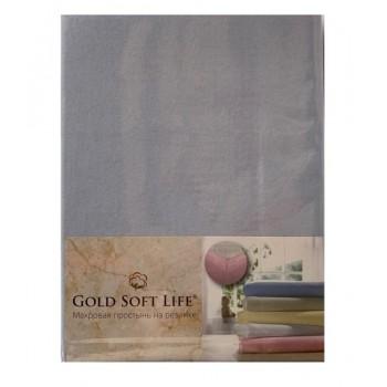 Простынь Gold Soft Life Terry Fitted Sheet 90*200*20см трикотажная на резинке голубая арт.ts-02020