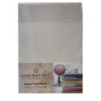 Простынь Gold Soft Life Terry Fitted Sheet 90*200*20см трикотажная на резинке молочная арт.ts-02025