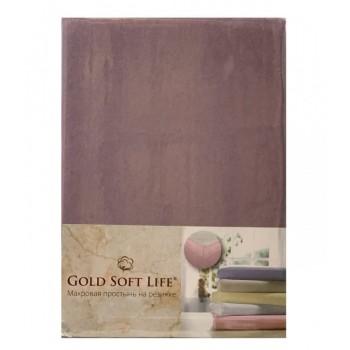 Простынь Gold Soft Life Terry Fitted Sheet 90*200*20см трикотажная на резинке фиолетовая арт.ts-02022