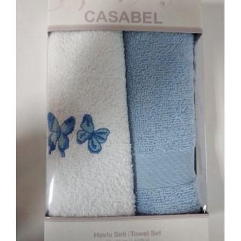Набор полотенец для кухни Casabel 40*60 см махровые в коробке 2шт голубой арт.TAC71247148