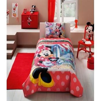 Покрывало с наволочкой Tac Disney Minnie Tea Time полуторное 160*220 см + наволочка 50*70 см хлопок подростковое арт.TAC60109097