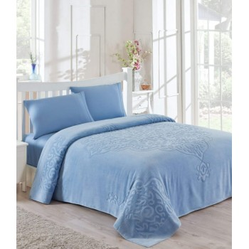 Покрывало-простынь Tac Dama Евро 200*220 см махровое голубое арт.TAC71240917