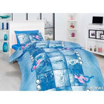 Комплект постельного белья First Choice Ranforce полуторный ранфорс подростковый арт.Jean Mavi