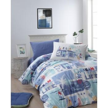 Комплект постельного белья First Choice Ranforce полуторный ранфорс подростковый арт.Summer Mavi