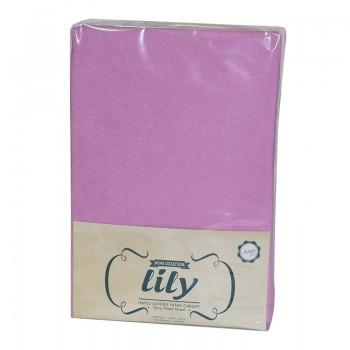 Простынь с наволочками Lily полуторная 160*200*30см махровая на резинке + 2 нав 50*70 см сиреневая