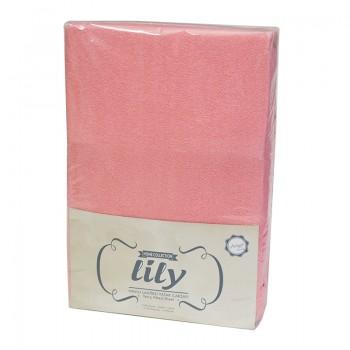 Простынь с наволочками Lily полуторная 160*200*30см махровая на резинке + 2 нав 50*70 см красная