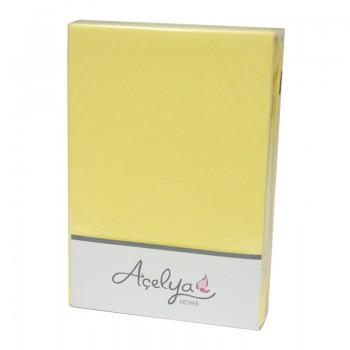Простынь с наволочками Acelya полуторная 160*200*30см трикотаж на резинке + 2 нав 50*70 см желтая