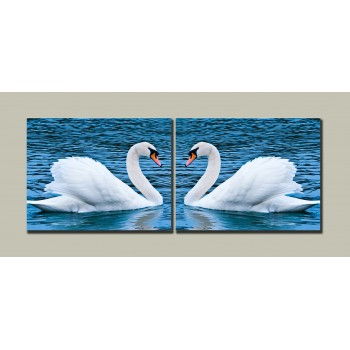 Картина модульная HolstArt Лебеди 54*140 см 2 модуля арт.HAD-001