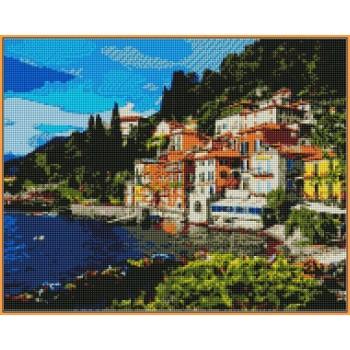 Алмазная вышивка Турбо Италия. Озеро Комо 40*50 см арт.ST1086