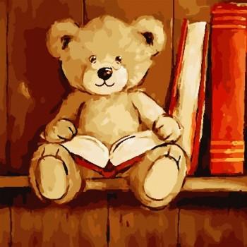 Картина по номерам ArtStory Мишка с книгой 40*40 см (без коробки) арт.AS0803