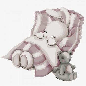 Картина по номерам Идейка Спокойной ночи, зайка 30*30 см (без коробки) арт.KHO2339