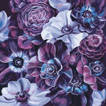 Картина по номерам Идейка Пурпурные цветы 40*40 см (без коробки) арт.KHO3016