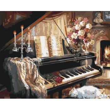 Картина по номерам Идейка Музыкальный вечер у камина 40*50 см арт.KHO2506