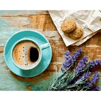 Картина по номерам BrushMe Кофе и букет лаванды40*50 см (без коробки) арт.BK-GX21514