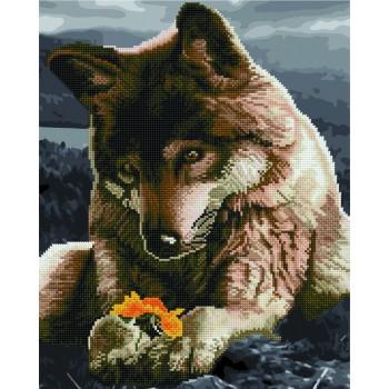 Алмазная картина по номерам Rainbow Art Волк и цветок 40*50 см арт.GZS1078