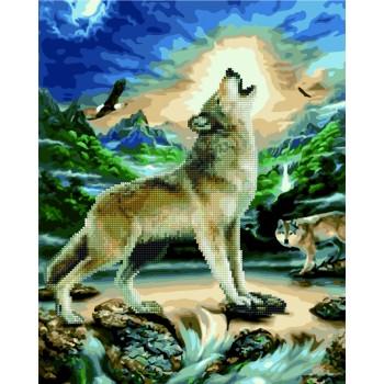 Алмазная картина по номерам Rainbow Art Волк при луне 40*50 см арт.GZS1095