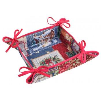 Хлебница LiMaSo Merry Christmas 20*20*8 см гобеленовая новогодняя арт.EDEN483-KH.20x20x8