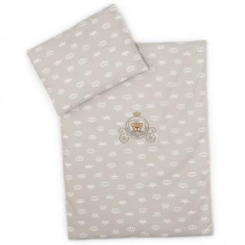 Комплект постельного белья в коляску Ideia детский ранфорс арт.8000010446.корона беж