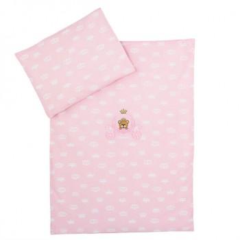 Комплект постельного белья в коляску Ideia детский ранфорс арт.8000010446.корона рожева