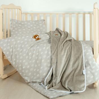 Комплект постельного белья в кроватку Ideia детский ранфорс с пледом арт.8000013517.корона беж
