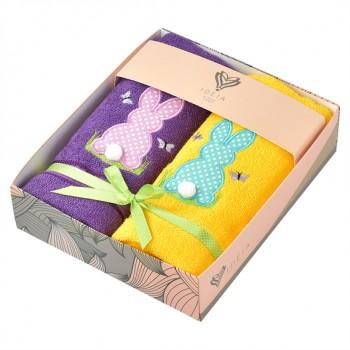 Салфетка для кухни Ideia 40*70 см махровая арт.8000029517.бузковий/жовтий/зайчики