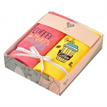 Салфетка для кухни Ideia 40*70 см махровая арт.8000029517.жовтий/рожевий/кава