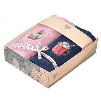 Салфетка для кухни Ideia 40*70 см махровая арт.8000029517.рожевий/т/синій/кава з маршмеллоу