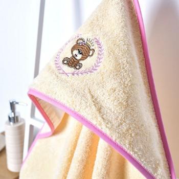 Полотенце-уголок Ideia Мишка 100*100 см махровое детское молочный арт.8000002391.молоко/ведмедик рожевий
