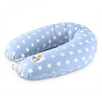 Подушка для кормления Ideia Standart 35*200 см бязь/антиаллергенное волокно арт.8000010804.XXL зірка біла на блакитному