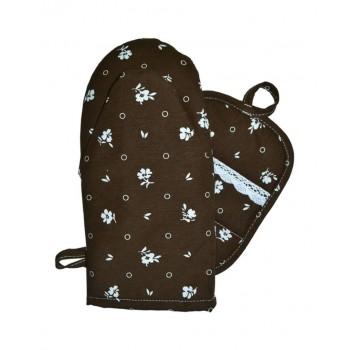 Набор рукавичка+прихватка Прованс Коричневый с кружевом хлопок арт.014364