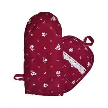 Набор рукавичка+прихватка Прованс Бордовый с кружевом хлопок арт.014368