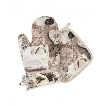 Набор рукавичка+прихватка Прованс DIGITALE BEIGE Фотопечать хлопок арт.008338
