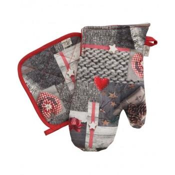Набор рукавичка+прихватка Прованс DIGITALE RED Фотопечать хлопок арт.008336