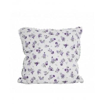 Наволочка декоративная Прованс lilac Rose с кружевом 40*40 см хлопковая арт.003684