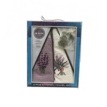 Набор полотенец для кухни Gold Soft Life Lavender bouquet 50*50 см вафельные в коробке 2шт
