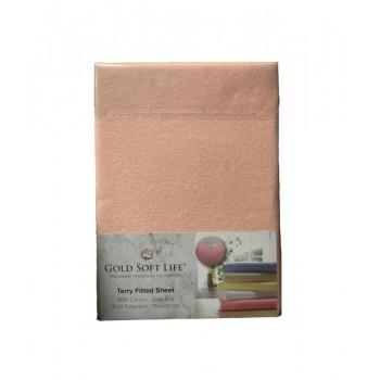 Простынь Gold Soft Life Terry Fitted Sheet 160*200*25см махровая на резинке персиковая арт.ts-01508